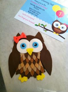 All Fondant Owl  and the invitation I was copying