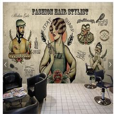 beibehang beibehang 3D Hair Salon Hair tattoo retro nostalgia background image wall #HairSalonSupplies
