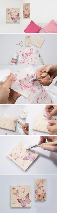 Doğal taşları kullanarak ev dekorasyonunuzda fark yaratın. Ürünler için: https://www.hobium.com/atolye/dogal-taslarla-pecete-dekupaj-calismasi
