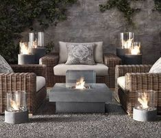 Restoration Hardware Furniture and Accessories: Laguna Concrete Propane Fire Table - 2011 Outdoor & Garden Collections Fire Pit Furniture, Outdoor Furniture Sets, Furniture Ideas, Concrete Furniture, Wicker Furniture, Concrete Table, Backyard Furniture, Coastal Furniture, Lounge Furniture