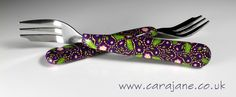 Polymer clay decorated cake forks - purple paisley by Cara Jane
