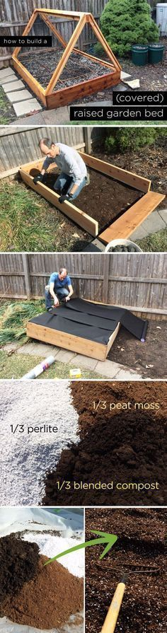 DIY Covered Raised Garden Bed. More (vegetable planter boxes trellis) #vegetableplanters #creativevegetablegardeningideas #vegetablegardeningraised #raisedgardenbeds #gardenbeds #gardeningvegetable