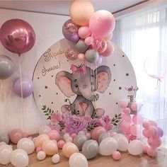 Baby Shower Themes Elephant Baby Shower Balloons And Decor Baby Girl Shower Themes, Girl Baby Shower Decorations, Baby Shower Centerpieces, Balloon Decorations, Baby Boy Shower, Baby Shower Favors Girl, Girl Themes, Decoracion Baby Shower Niña, Theme Mickey