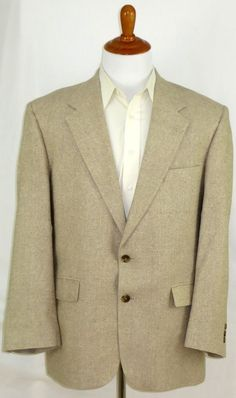 Mens Silk Jacket Sports Coat Blazer Beige Cream Tan Lord & Taylor Hartmarx 42 R #LordTaylor #TwoButton