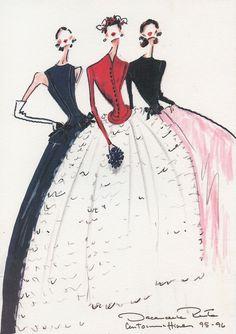 Illustrations from Oscar de la Renta's 1995-1996 couture collection for Balmain.
