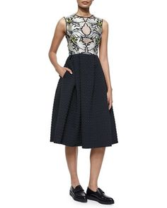 Shirlette Floral-Embroidered Midi Dress by Erdem at Bergdorf Goodman.