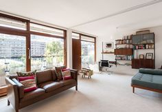 On the market: Type 20 apartment in Speed House on the Chamberlin, Powell and Bon-designed Barbican Estate, London - WowHaus Interior Design Boards, Interior Design Inspiration, Built In Cupboards, Living Spaces, Living Room, Barbican, Mid Century House, Home Renovation, Interior Architecture