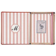 Striped Pink White Custom Monogram iPad DODOcase
