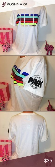 NEW PINK VS MULTICOLOR LOGO SHORT SLEEVE SHIRT NWT PINK VICTORIA'S SECRET 