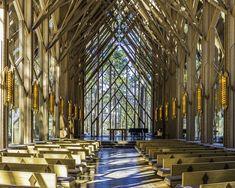A beauiful glass chapel located in Hot springs, AR #weddingchapel #weddingvenue #gardenweding Chapel Wedding, Wedding Venues, Woodland Garden, Architectural Features, Hot Springs, Weddings, Portrait, Architecture, Glass