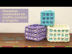 Canasta cuadrada en waffle crochet XL - Tejiendo Perú...