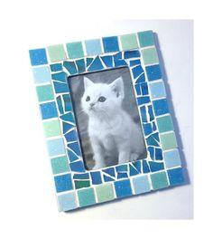 Mosaic Picture Frame Aqua Blue Frame by MashedPotatoMosaics