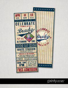 Vintage Baseball Ticket Invitation Printed & by printylittlethings