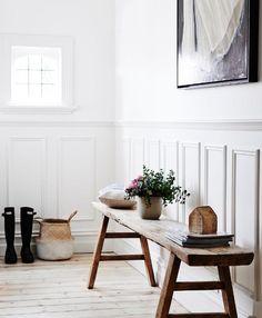 First-Class Wainscoting Stairs Hallway Ideas Ideas Hallway Bench Seat, Hall Bench, Wooden Bench Seat, Rustic Wooden Bench, Barn Wood, Wainscoting Stairs, Wainscoting Height, Black Wainscoting, Wainscoting Nursery