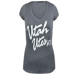 Utah Utes grey Tee. Such a cute addition to your collection of RED. #utahutes #universityofutah