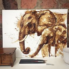 Artist Creates an Incredible Array of Detailed Portraits Drawn Entirely With Coffee - Elephants