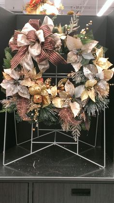 Gold ans brown with fruit Christmas square wreath...Robin Evans