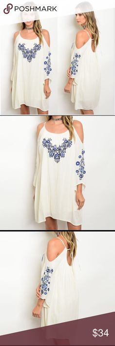 "Cold Shoulder Embroidered Dress Off-white, cold shoulder, embroidered mini dress.  •Multi-blue colored embroidery •100% Rayon •Crinkle style fabric •Fully lined •Keyhole ties in back  Measurements: S-   Bust: 34""  Length: 32"" M-  Bust: 36""  Length: 33"" L-   Bust: 38""  Length: 34""  ❗️Price is firm unless bundled❗️ Dresses"