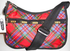 NEW!  LE SPORTSAC Classic Hobo Cozy Plaid Red Washable Poly + Pouch # 7520 NWT…