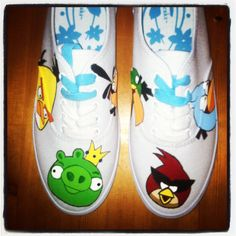 Hand painted angry birds shoes!  Want some?