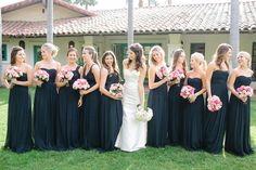 Rancho Santa Fe Wedding from Troy Grover Photographers Bridesmaid Dresses Long Blue, Navy Blue Bridesmaid Dresses, Bridesmaids And Groomsmen, Wedding Bridesmaids, Wedding Dresses, Navy Dress, Wedding Bouquets, Blue Dresses, Before Wedding