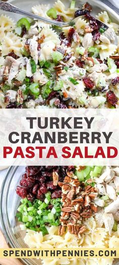 Turkey Cranberry Pasta Salad is perfect for holiday parties and potlucks. With festive mix-in's like leftover turkey, tart cranberries, toasted almonds and crisp celery your guests are sure to fall in love with this cold pasta salad. salad for parties Turkey Pasta, Turkey Salad, Easy Pasta Salad Recipe, Healthy Salad Recipes, Pasta Salad Recipes Cold, Cranberry Salad Recipes, Vegan Recipes, Cold Lunches, Cold Meals