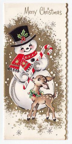Vintage Greeting Card Christmas Cute Snowman Deer Reindeer Candy Cane