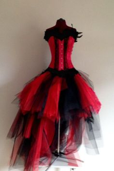 Red Black Peacock Feather Skirt and Corset by thetutustoreuk