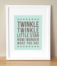 Twinkle Twinkle Little Star - CUSTOM COLOR - 8x10 Nursery Art Print