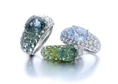 gimel Ring:Sapphire, Diamond Demantoid Garnet, Diamond