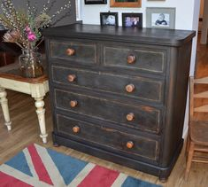 Annie Sloan Graphite on a Victorian Chest Of Drawers