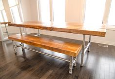 "This amazing dining table and bench is made with 3' thick reclaimed wood and 1-1/4"" galvanized pipe frame.  This particular table measures 8 feet long and is 42"" wide.  Bench is usually 12"" to 15"" wide and can sit 3 adults comfortably.   Chose desired options below for pricing or contact us for a quote."