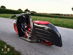 Check out this neat chopper motorcycle biker chick - what an artistic conception Lambretta Scooter, Vespa Scooters, Custom Bobber, Custom Bikes, Sidecar, Scrambler Motorcycle, Chopper Motorcycle, Honda Cub, Cafe Racer Build