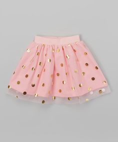 Another great find on #zulily! Pink & Gold Dot Overlay Gathered Skirt - Infant & Toddler #zulilyfinds