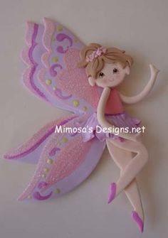 Fairies Cake Toppers - products new description - Fairy Pink Plaque for Cake Polymer Clay Figures, Cute Polymer Clay, Fimo Clay, Fondant Toppers, Cupcake Toppers, Foam Crafts, Paper Crafts, Christening Favors, Biscuit
