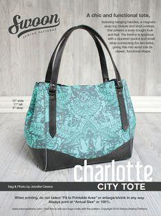 Swoon Patterns: Charlotte City Tote PDF Vintage Purse Tote