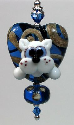 Made to order Margo lampwork beads blue heart white cat