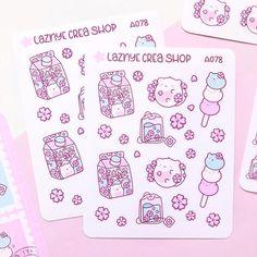 Sakura Cat Stickers – LaznyeCreaShop Journal Stickers, Planner Stickers, Vinyl Sticker Paper, Cute Planner, Cat Stickers, Cherry Blossom, How To Draw Hands, Bullet Journal, Cats