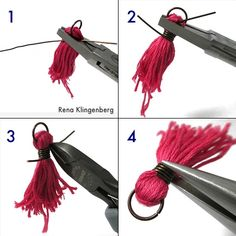 Wire wrapping the tassel - Colorful Tassel Jewelry - tutorial by Rena Klingenberg