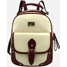 Beige Contrast Trim Buckled Strap Backpack (380180 BYR) ❤ liked on Polyvore featuring bags, backpacks, beige, backpack bags, rucksack bags, day pack backpack, polyurethane bags and beige bag