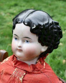 "24"" Uncommon Modified Flat-top China 1860-70 - Barndust #dollshopsunited"