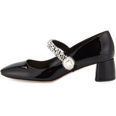 Miu Miu Jewel-Strap Mary Jane Pump ($1,005) ❤ liked on Polyvore featuring shoes, pumps, black slip-on shoes, block heel pumps, round toe pumps, black patent leather shoes and black patent mary janes