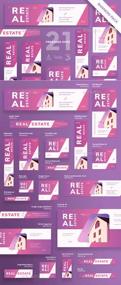 Buy Real Estate Agency Banner Pack by ambergraphics on GraphicRiver. Stand out of the crowd with a perfect banners pack. Big set of banners – 21 various forms and sizes to improve the lo. Banner Design Inspiration, Web Banner Design, Design Web, Web Design Company, Design Cars, Design Ideas, Real Estate Ads, Real Estate Branding, Real Estate Agency