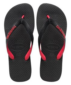 Look at this Havaianas Black & Red Top Tred Flip-Flop - Men on #zulily today!