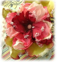 Silk flowers melted a little with heat gun-link to tutorial at Three Trees (paper) Creations