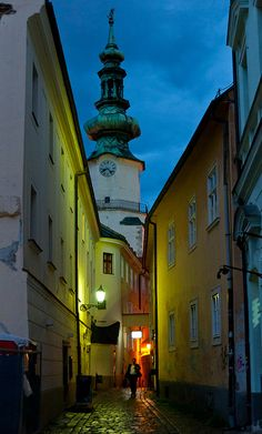 Bratislava, Slovakia at Night: Not famed on the tourist trail but a lovely little capital. Wonderful Places, Great Places, Places To See, Beautiful Places, Montenegro, Bósnia E Herzegovina, Bratislava Slovakia, Central And Eastern Europe, Danube River
