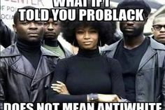 """It says, """"What if I told you ProBlack does NOT mean Anti-White?"""" It doesn't mean anti-anything. It just means for Black empowerment and pro Black unity, and pro Black intellect. Just like every other race. Nothing different.... Very true indeed"""