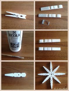 star made of clothespins, easy and fun to make. Plastic Spoon Crafts, Plastic Spoons, Holiday Crafts, Christmas Diy, Christmas Decorations, Hobbies And Crafts, Arts And Crafts, Diy Crafts, Star Party