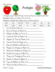 Analogies Worksheet: We're Related!   Worksheets, Therapy and Speech ...