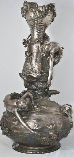 Art nouveau pewter WMF figural vase